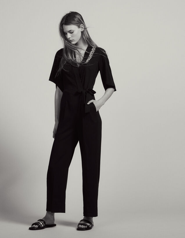 Wrapover Jumpsuit : Pants color Black