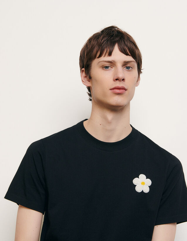 Cotton T-shirt with embroidered patch : Summer Collection color Black