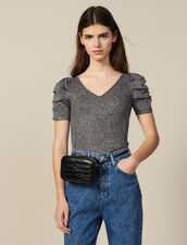 Lurex Knit Top With Puff Sleeves : Tops & Shirts color Silver