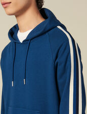 Hoodie With Striped Braid Trims : Winter Collection color Blue