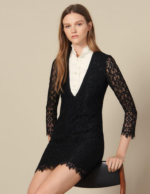 Short Dress With Trompe L Oeil Effect : Dresses color Black
