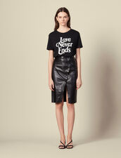 Leather wrapover skirt with slit : LastChance-ES-F30 color Black