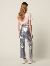 High-Waisted Coated Flared Jeans : null color Silver