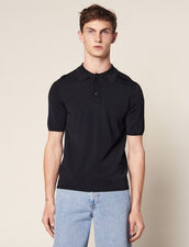 Fine knit polo shirt with short sleeves : T-shirts & Polo shirts color Navy Blue