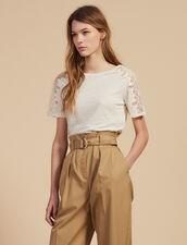 Linen T-Shirt With Lace Trim : null color Ecru