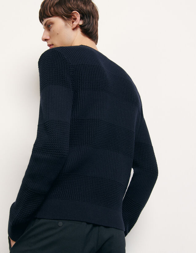 Round neck cotton sweater : Sweaters & Cardigans color Navy Blue