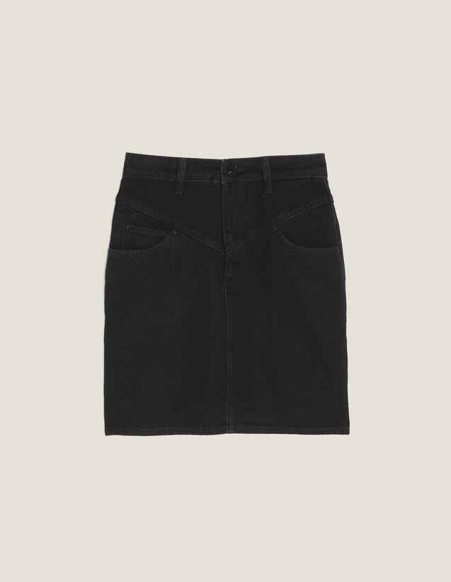 Short Denim Skirt : null color Black