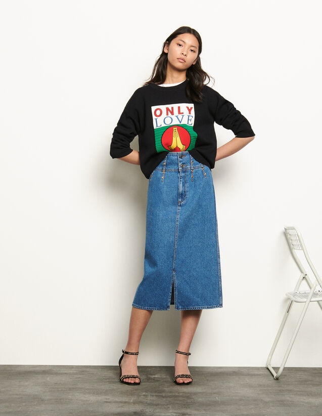 Long denim skirt : Summer Collection color Blue Jean
