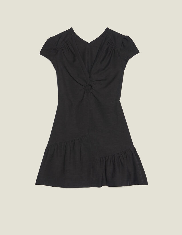 Short Dress With Low Neckline : null color Black