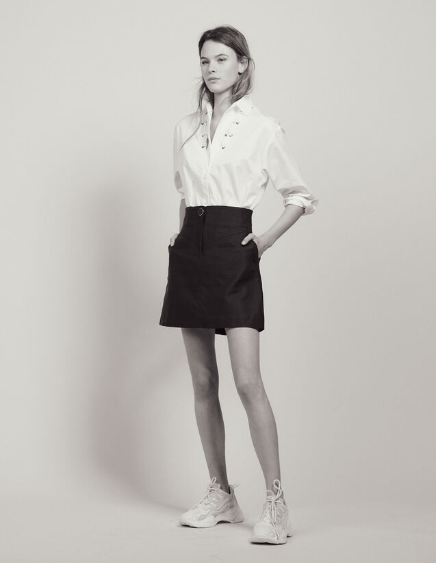 A-Line Skirt With Jewelled Button : Skirts & Shorts color Navy Blue
