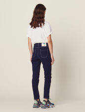 Jeans With Contrasting Stitching : null color Navy Blue