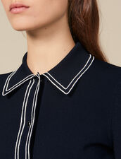 Cropped shirt-effect cardigan : LastChance-ES-F30 color Navy Blue