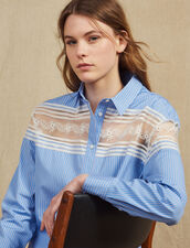 Striped Shirt With Lace Inset : LastChance-FR-FSelection color Blue