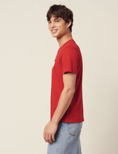 Cotton T-Shirt With Flocked Heart : Toute la Sélection color white