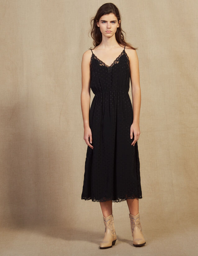Tone-On-Tone Jacquard Lingerie Dress : Dresses color Black