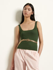 Ribbed knit cropped vest top : Tops & Shirts color Olive Green