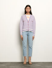 Cropped tweed effect cardigan : Sweaters & Cardigans color Blue/pink