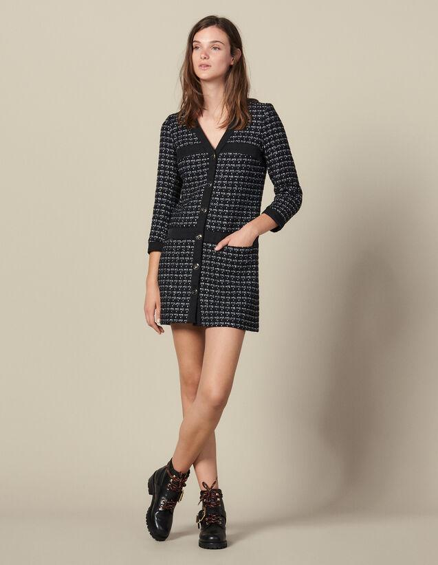 Short Tweed Coat Dress : Dresses color Navy Blue