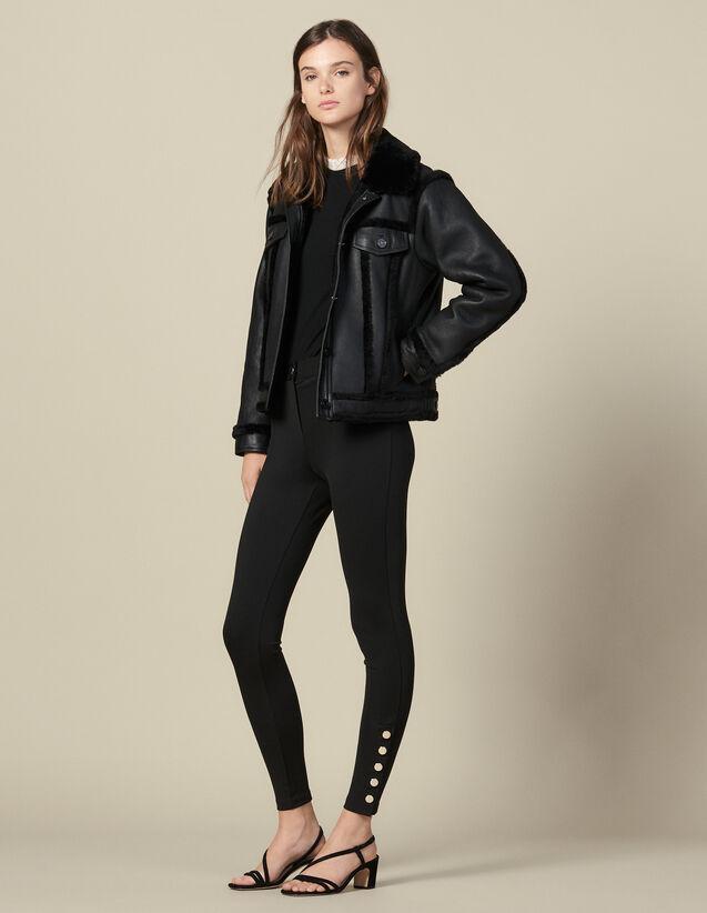 Leggings With Press Studs : Pants color Black