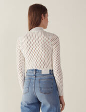 Long-Sleeved Mesh Sweater : null color white