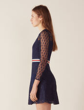 Short Lace Dress : null color Navy Blue