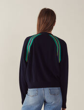 Long-Sleeved Sweater With Braid Trim : null color Navy Blue
