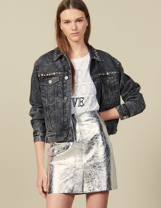 Short Silver Leather Skirt : Skirts & Shorts color Silver