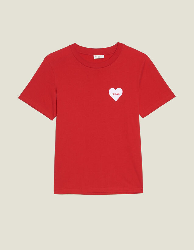 Cotton T-Shirt With Flocked Heart : T-shirts & Polo shirts color Red
