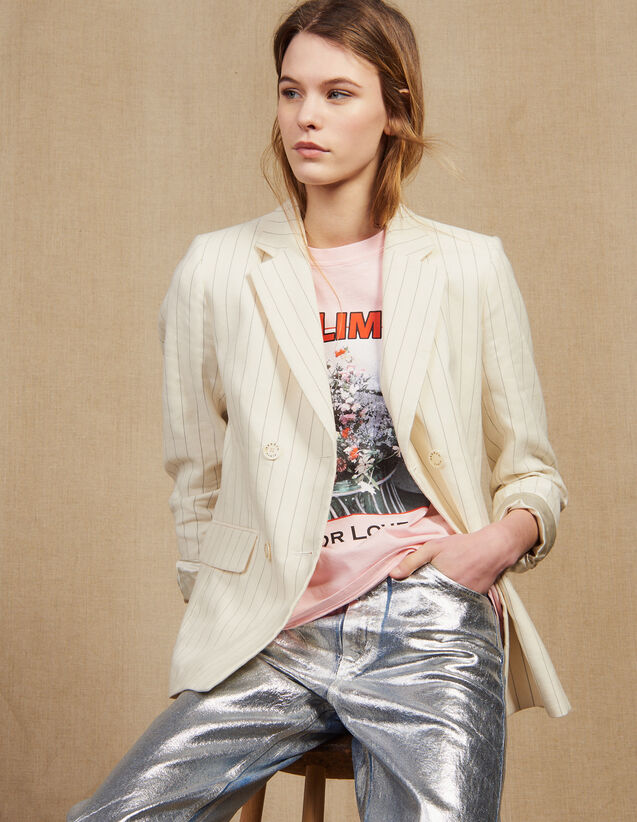 Pinstriped Tailored Jacket : null color white