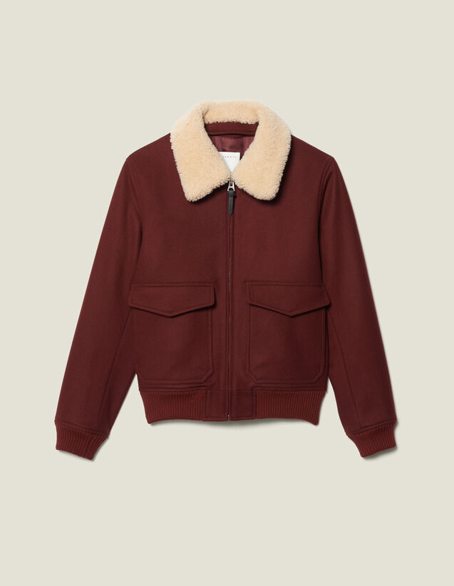 Aviator jacket with sheepskin collar : Blazers & Jackets color Camel