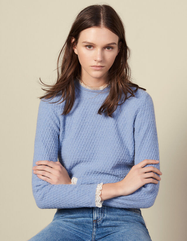 Pointelle knit sweater trimmed with lace : LastChance-ES-F50 color Blue sky