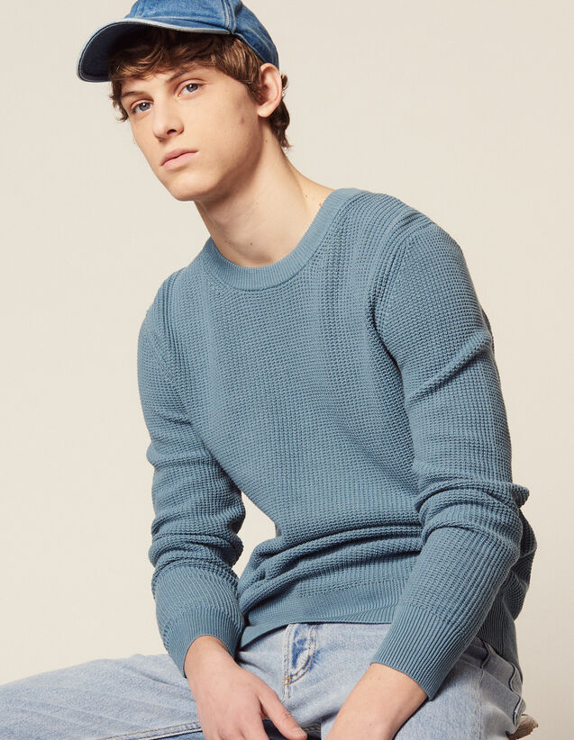 Textured Cotton Knit Sweater : All selection color white