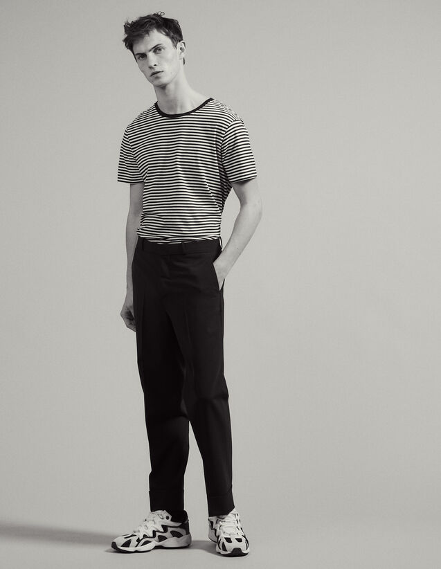 Carrot-Cut Trousers With Turn-Ups : Sélection Last Chance color Navy Blue
