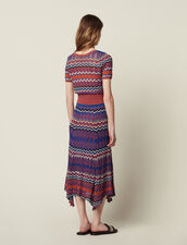 Long Knit Skirt With Zigzag Print : Skirts & Shorts color Terracotta