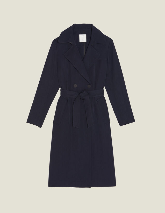 Flowing Trench Coat With Belt : null color Navy Blue