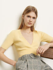 Cropped sweater with crossover neckline : Sweaters & Cardigans color Yellow