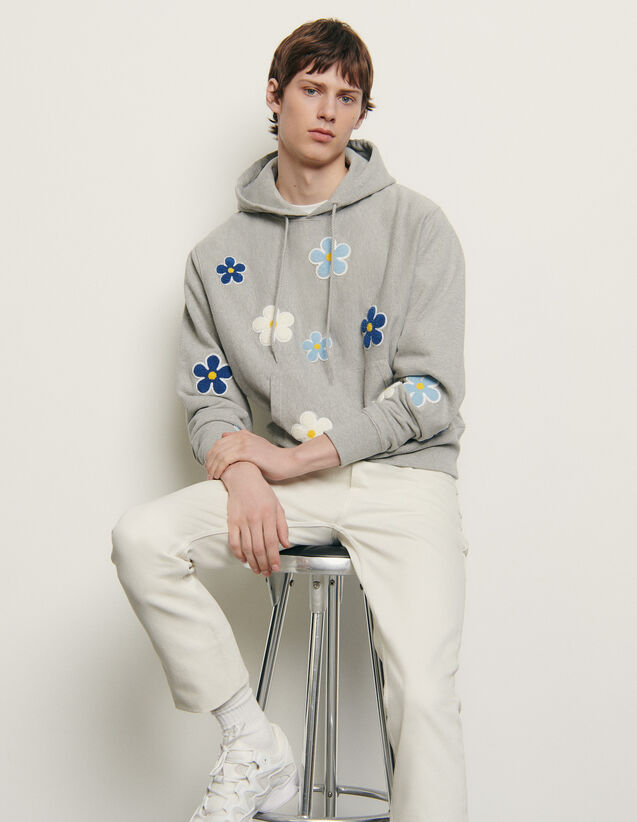 Hoodie with embroidered patch : Summer Collection color Mocked Grey