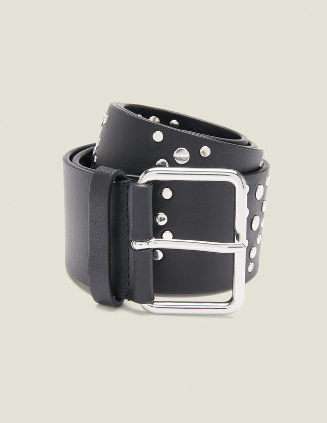 Black Belt Trimmed With Studs : Belts color Black