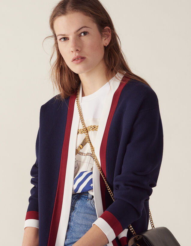 Fine Knit Collegiate Cardigan : Sweaters & Cardigans color Navy Blue