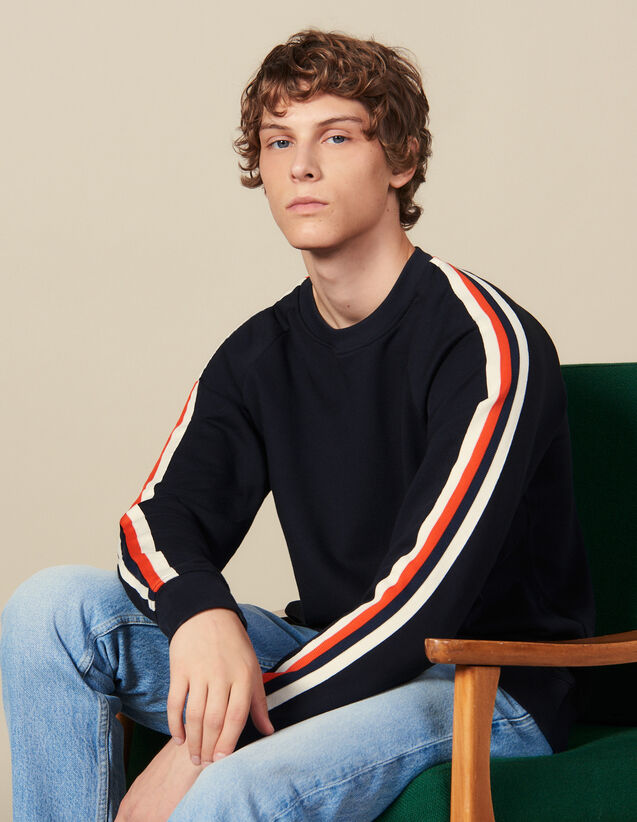 Cotton Sweatshirt With Braid Trims : Winter Collection color Navy Blue