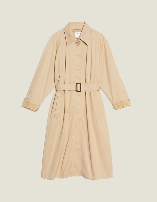 Long Trench-Style Coat : null color Beige