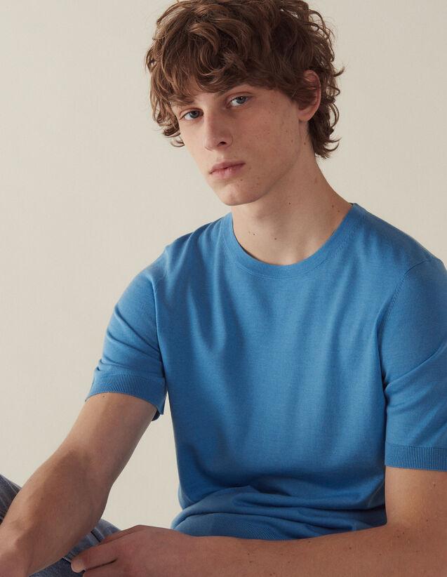 Short-Sleeved Merino Wool Sweater : Sweaters & Cardigans color Black