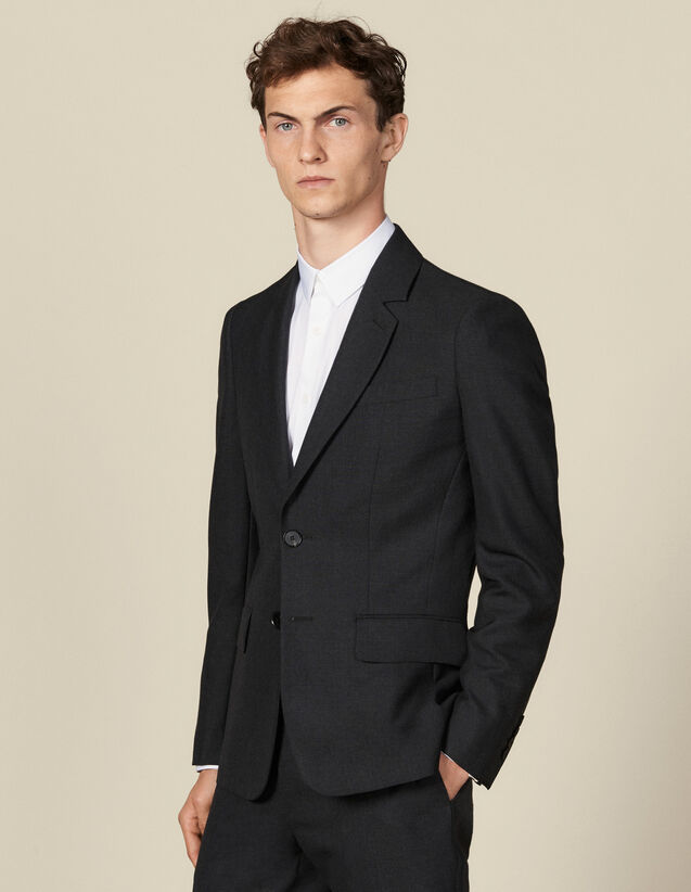 Topstitched suit jacket : Suits & Tuxedos color Charcoal Grey
