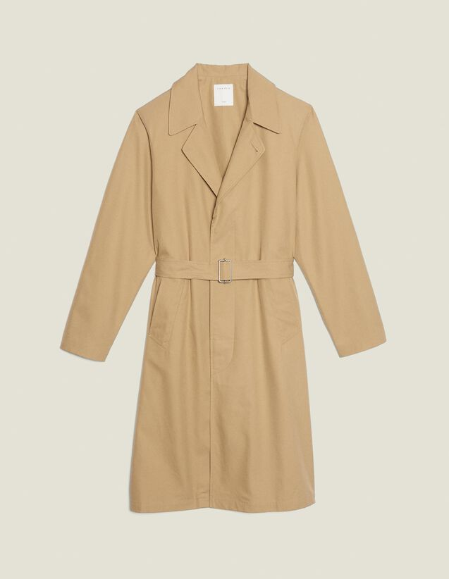 Long Cotton Trench Coat : SOLDES-CH-HSelection-PAP&ACCESS-2DEM color Beige