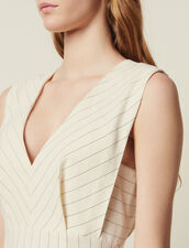 Structured Midi Dress With Fine Stripes : null color white