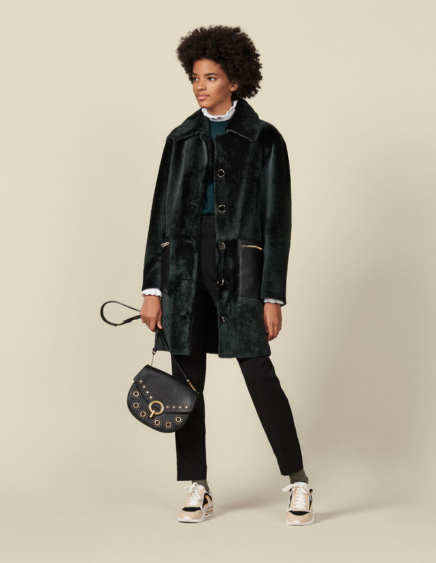 Mid-length sheepskin coat : Coats color Dark green