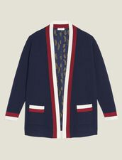 Fine Knit Collegiate Cardigan : null color Navy Blue