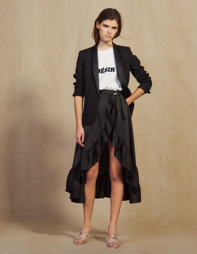 Ruffled Asymmetric Skort : Skirts & Shorts color Black