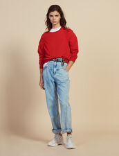 Long-Sleeved Wool Sweater : null color Red