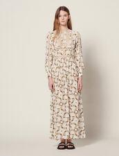 Long Dress With Butterflies Print : null color Ecru